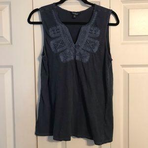 LUCKY Medium Blue Embroidered Sleeveless Top